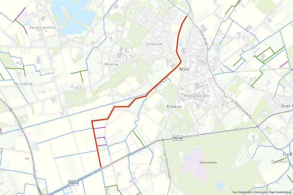 Kaartje traject baggeren Peelkanaal